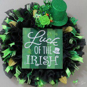 Luck of the Irish Shamrock St. Patricks Day Wreath